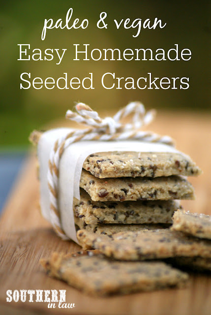Easy Homemade Paleo Crackers Recipe - gluten free, vegan, grain free, low carb, dairy free, egg free, clean eating recipe