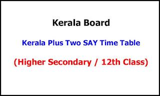 Kerala Plus Two SAY Exam Time Table 2021