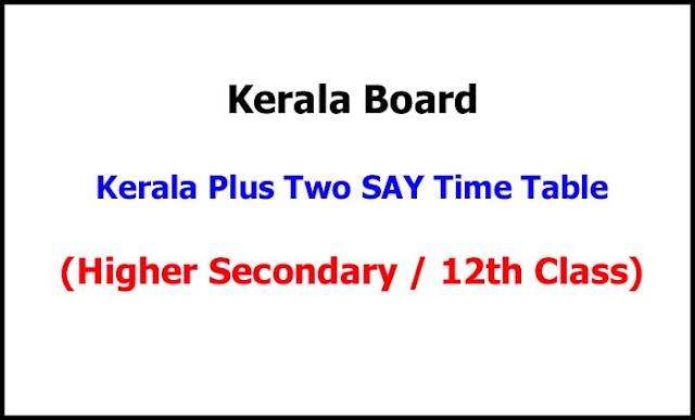 Kerala Plus Two SAY Examination Time Table 2021