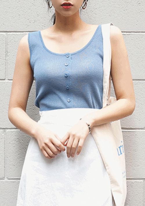 Button-Up Scoop Neck Sleeveless Top