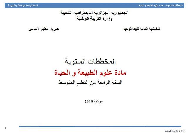 المخططات السنویة مادة علوم الطبیعة و الحیاة السنة الرابعة من التعلیم المتوسط جويلية 2019
