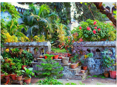 Oasis of lime-washed walls  hues of indigo blue in the middle  of chaos, clamour of old capital a courtyard stands firmly embodying ballads of intricate past  twinkles from anklet of maiden's feet vestiges of erstwhile kingdom, drowned  in cacophony of busy streets  people on roads, emerging cities  and night life, whispers into air  someday in future, infested  political structures will decay flowers of culture and glorious  past will bloom in cradle of ruins  until then a wanderer  lits the lamps  in name of lost ones  keeps it burning  till the break of dawn