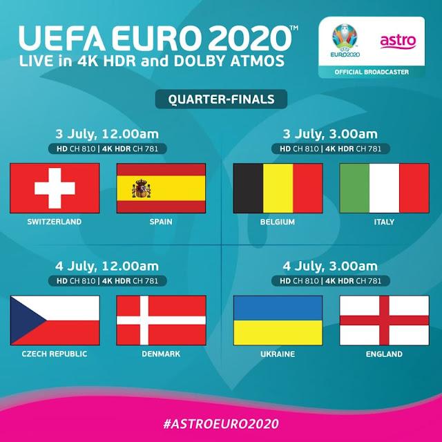 Jadual perlawanan Suku Akhir EURO 2020 siaran Astro