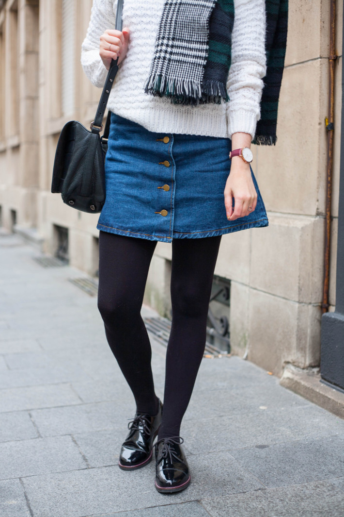 a-line denim skirt, patent brogues