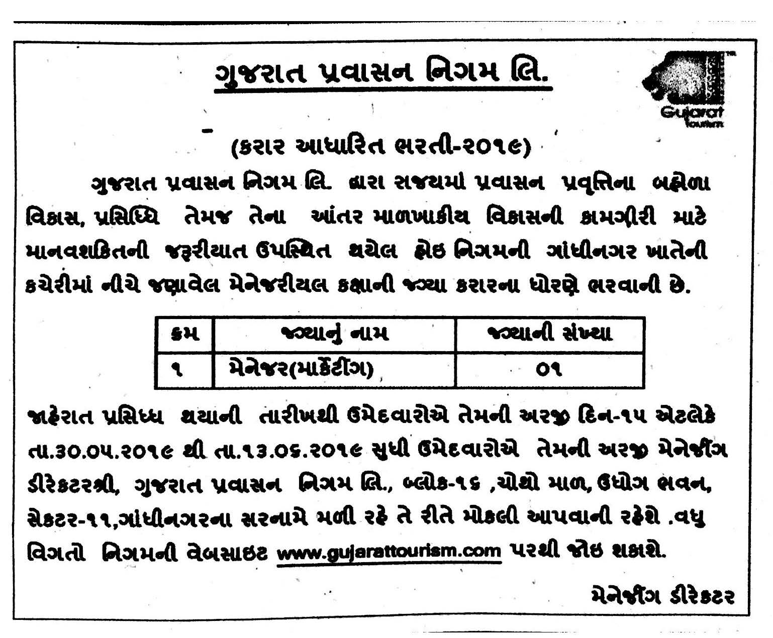 Gujarat Tourism Recruitment for Manager (Marketing) Post