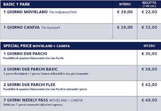 Tariffe CanevaWorld (Movieland e Caneva Aquapark) 2018