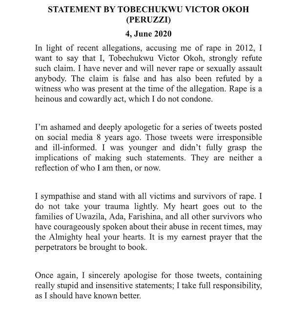 Peruzzi  Apologizes For His Old Tweets In Which He Declared Himself A R*pist