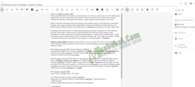 Cara Membuat Daftar Isi di Blogger Template LinkMagz blog masbabal