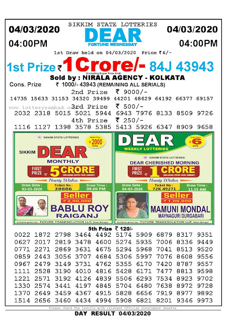 Lottery Sambad 04.03.2020 Sikkim Lottery Result 4 PM
