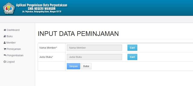 Halaman Input Data Peminjaman Buku (Backend)