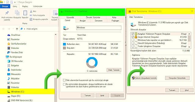 Bilgisayarıma girin ve Yerel disk C'ye gelerek sağ tık yapın. Özellikleri seçin ve diski temizle seçeneğini seçin. Karşınıza çıkan menüdeki seçenekleri işaretleyin ve tamam butonuna tıklayın.