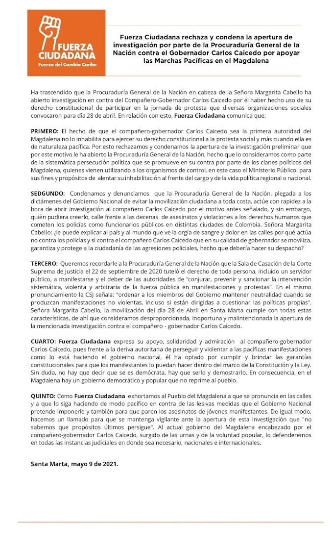 Fuerza Ciudadana rechaza apertura de investigación de la Procuraduría contra el Gobernador Carlos Caicedo por apoyar Marchas Pacíficas en el Magdalena