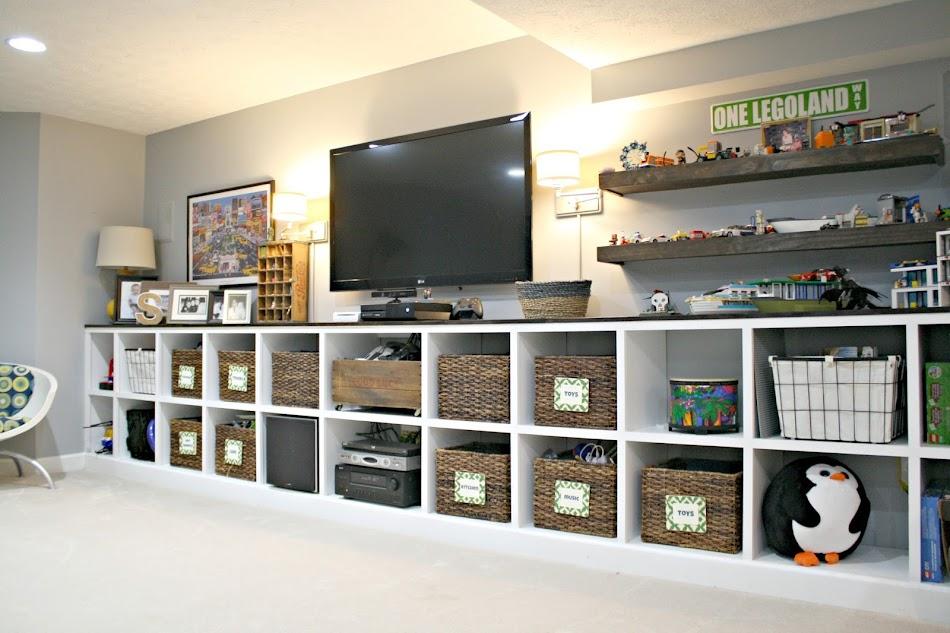 Toy storage built in cubbies