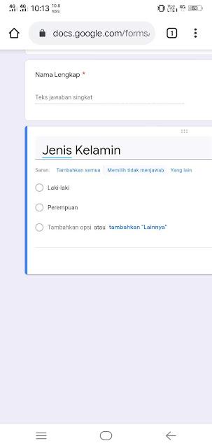 Contoh pertanyaan google forms