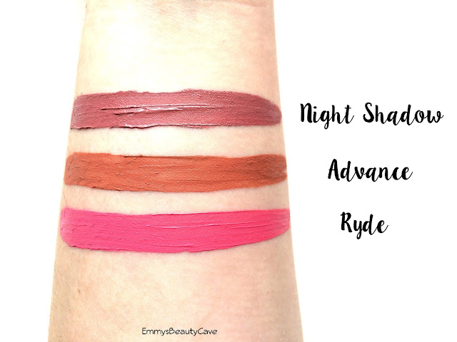 Fiinx Matte Liquid Lipstick Swatches Advance Ryde Night Shadow