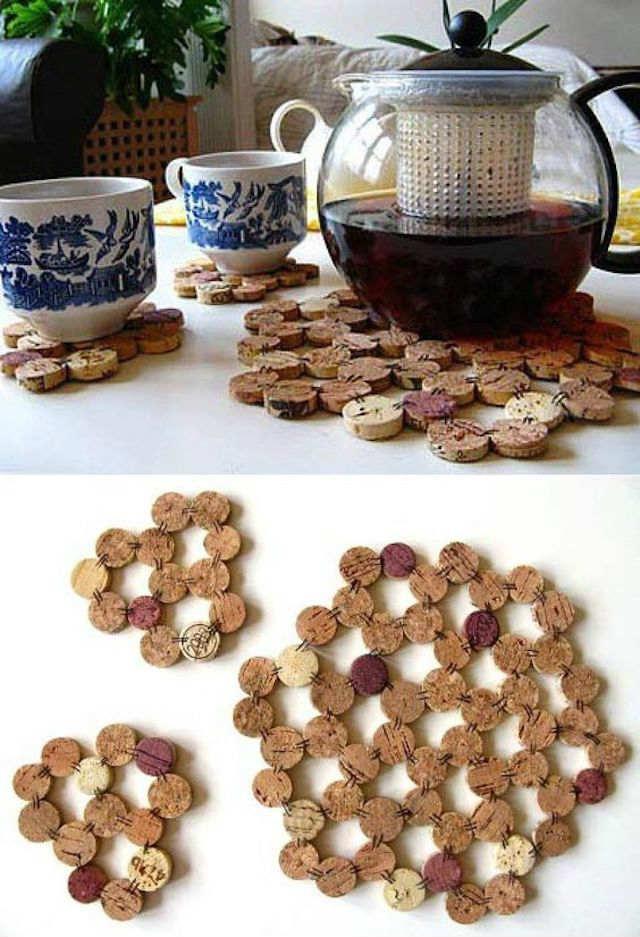 10 ideas sorprendentes para reciclar tapones de corcho, salvamanteles