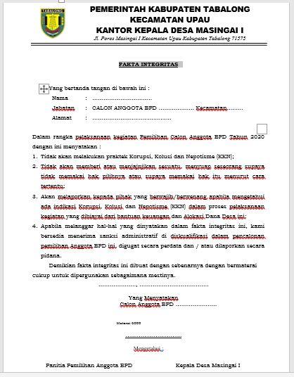 Contoh Surat Pakta Integritas