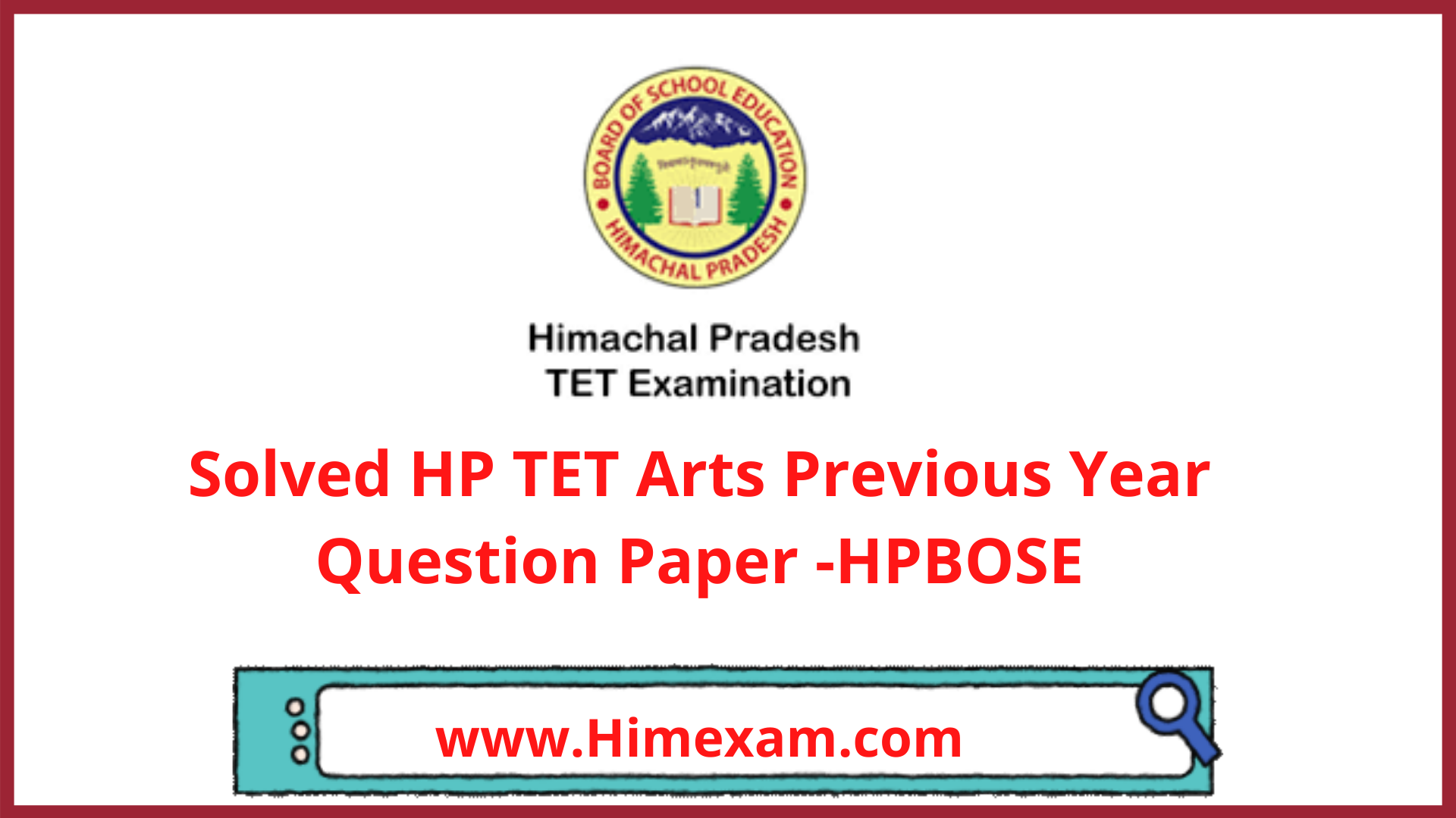 Solved HP TET Arts Previous Year Question Paper -HPBOSE