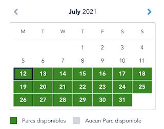 Disneyland Paris calendrier