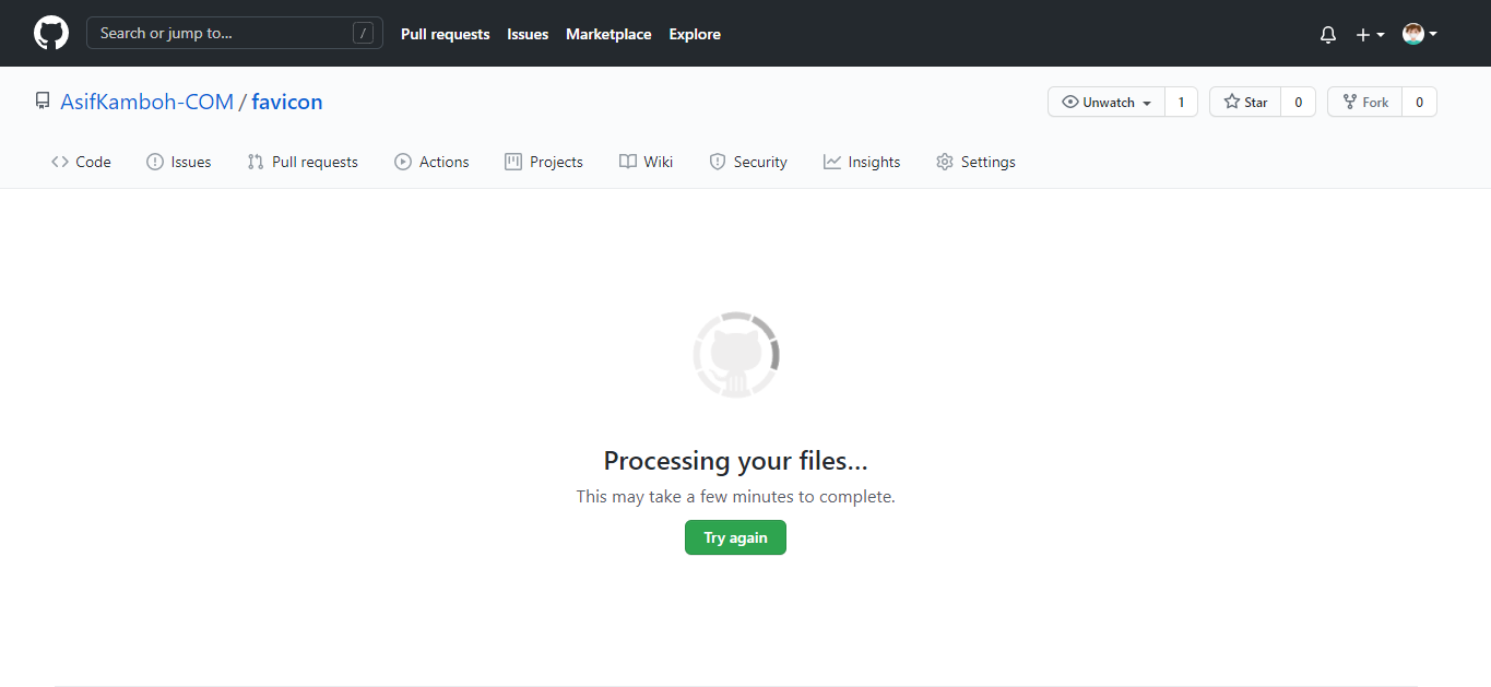 Image of Processing your files on the GitHub repository.