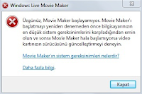 live movie maker error - hata