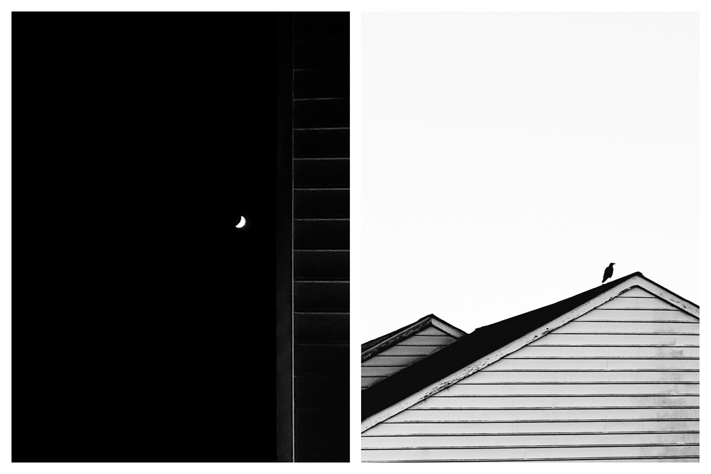 A monochrome frame of a cresent moon in the night sky next to vinyl sidings of a townhome mildly lit by street light juxtaposed alongside a monochrome frame with a silhouette of a crow on the roof a townhome on a bright sunny day