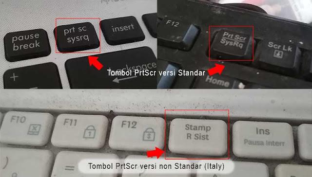 Lokasi tombol PrtScn