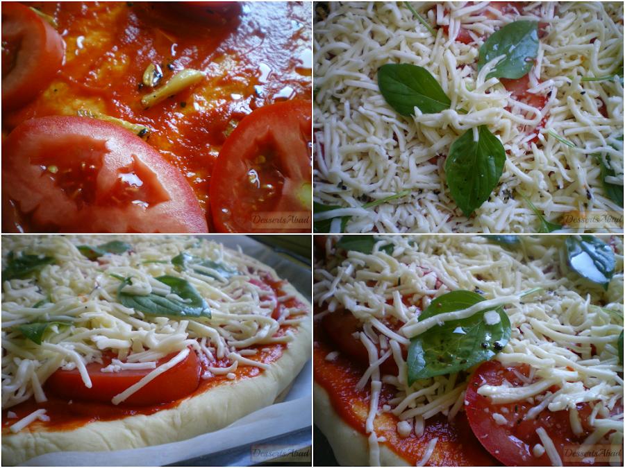 Pizza margherita antes de hornear