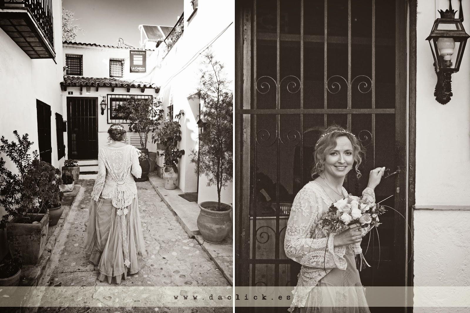 vestido de novia vintage entrando al restaurante La Costera de Altea