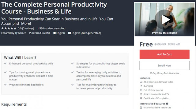 [100% Off] The Complete Personal Productivity Course - Business & Life| Worth 199,99$