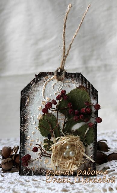 тег, открытка, с сухоцветами, с гнездом