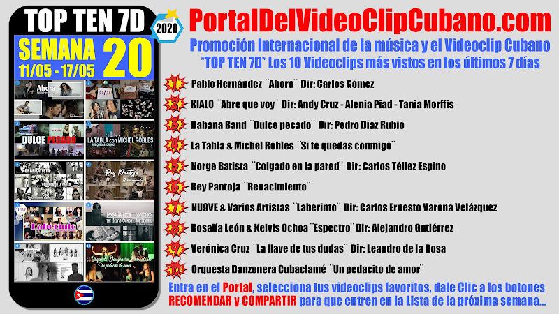 Artistas ganadores del * TOP TEN 7D * con los 10 Videoclips más vistos en la semana 20 (11/05 a 17/05 de 2020) en el Portal Del Vídeo Clip Cubano