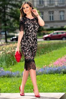 Rochie de seara din dantela cu franjuri marime mare