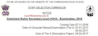 SSC CHSL LDC DEO Exam Date