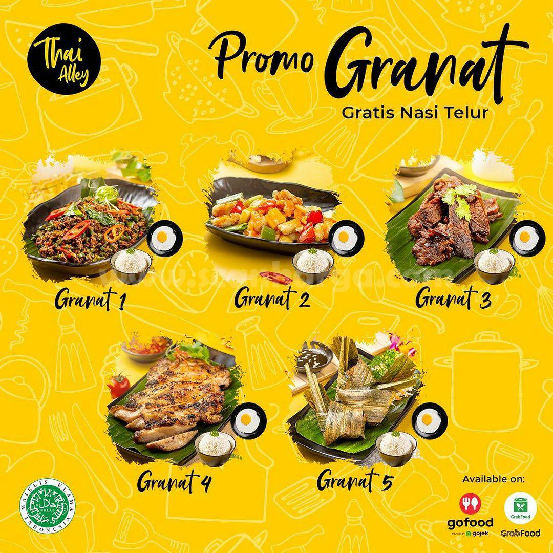 THAI ALLEY Promo GRANAT – Gratis Nasi Telur khusus pesan via GoFood & GrabFood