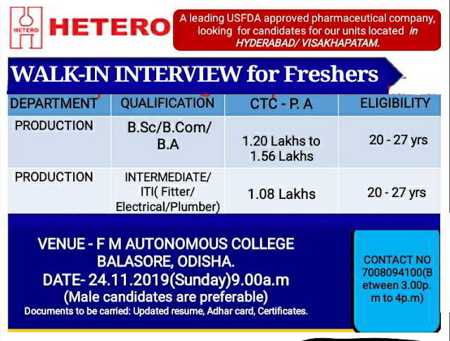 Hetero Labs walk-in interview for Freshers - Production / Engineering on 24th Nov' 2019