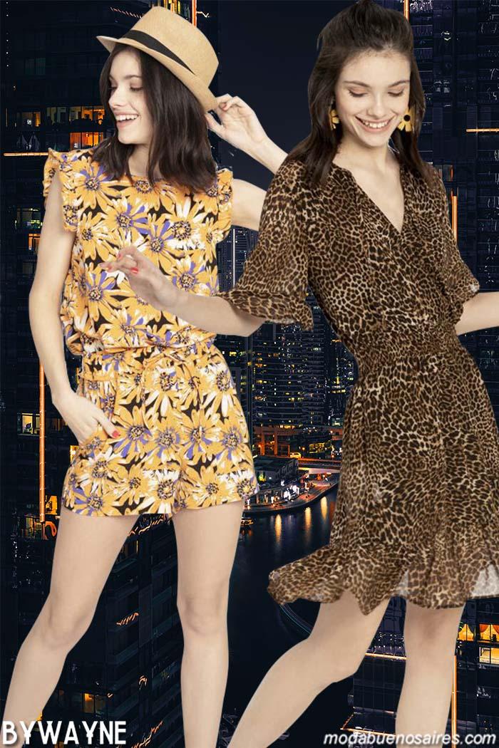 Monos estampados cortos y vestidos animal print primavera verano 2020.