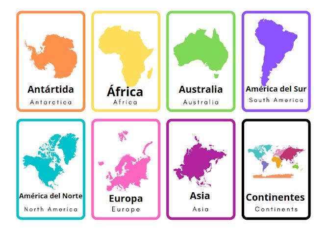 continents Spanish vocabulary