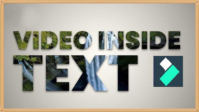 دورة تعلم وشرح filmora 9 كيفية إدخال فيديو في الكتابة أو النص How to place a video inside text