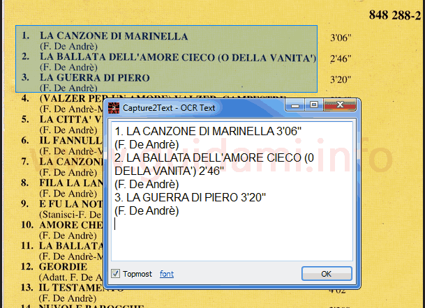 Testo copiato da immagine da Capture2Text per Windows