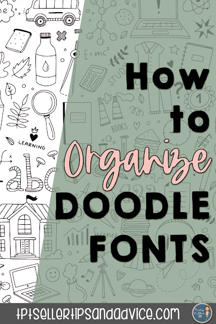 Pin Image with doodles in background, text How to Organize Doodle Fonts