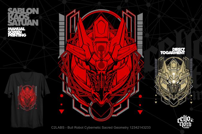 Kaos Distro Bull Robot Cybernetic Sacred Geometry 12342143233