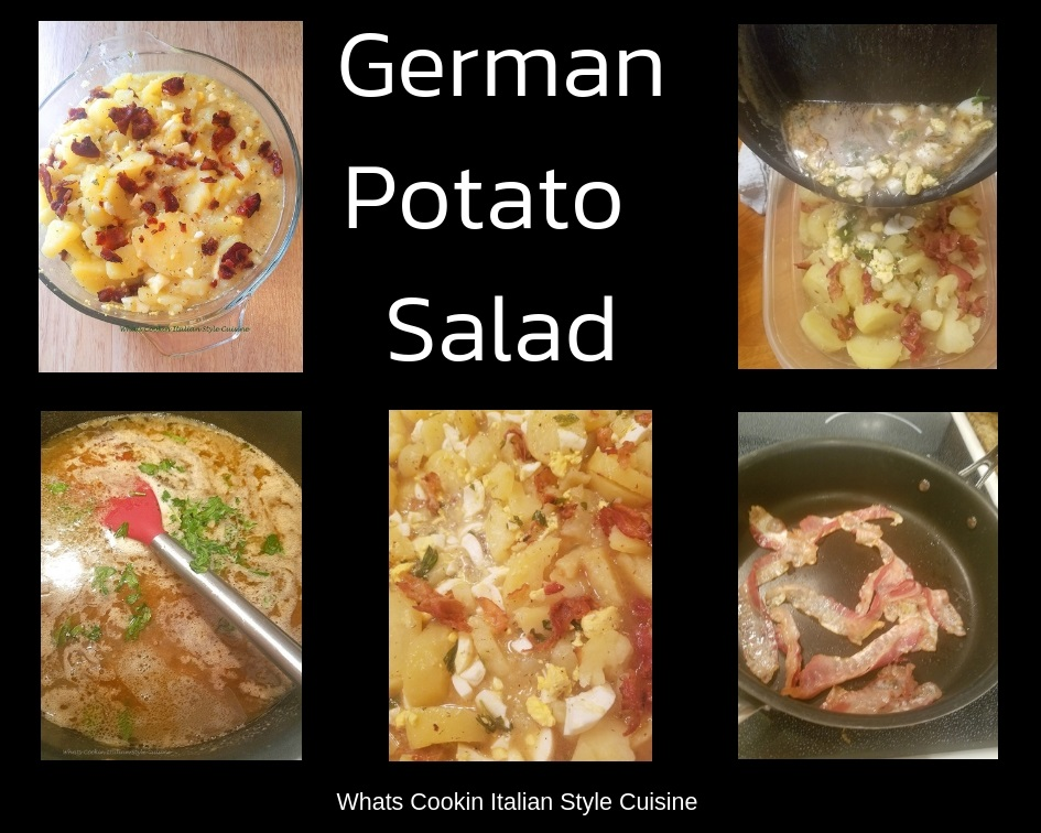 this is a collage of photos with step by step on how to make German Potato Salad with bacon, boiled eggs, potatoes and hot dressing poured over the potatoes
