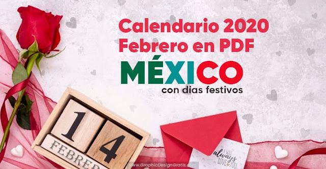 Calendarios febrero de México 2020 gratis en PDF