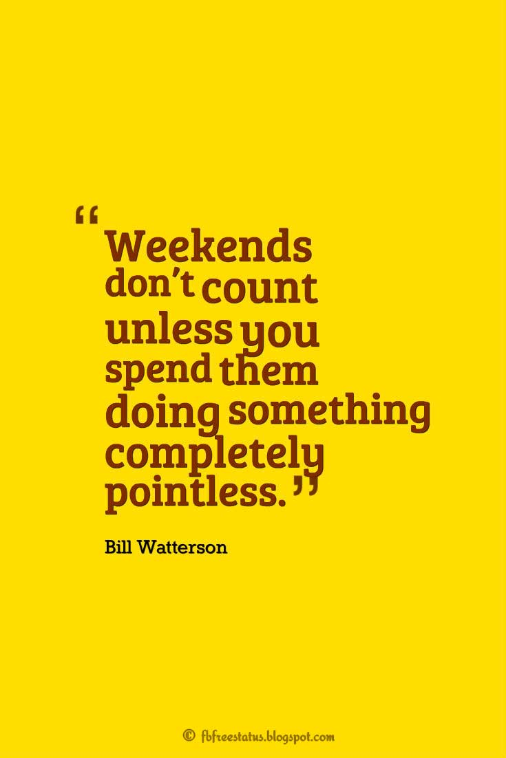 """Weekends don't count unless you spend them doing something completely pointless."" ― Bill Watterson"