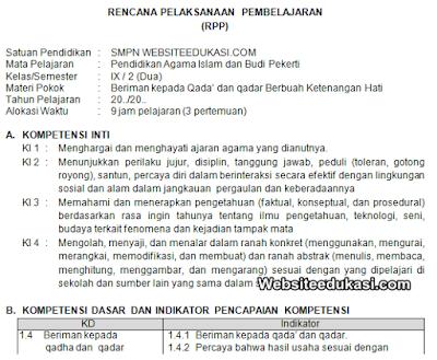 RPP PAI Kelas 9 Semester 2 Kurikulum 2013 Revisi 2019