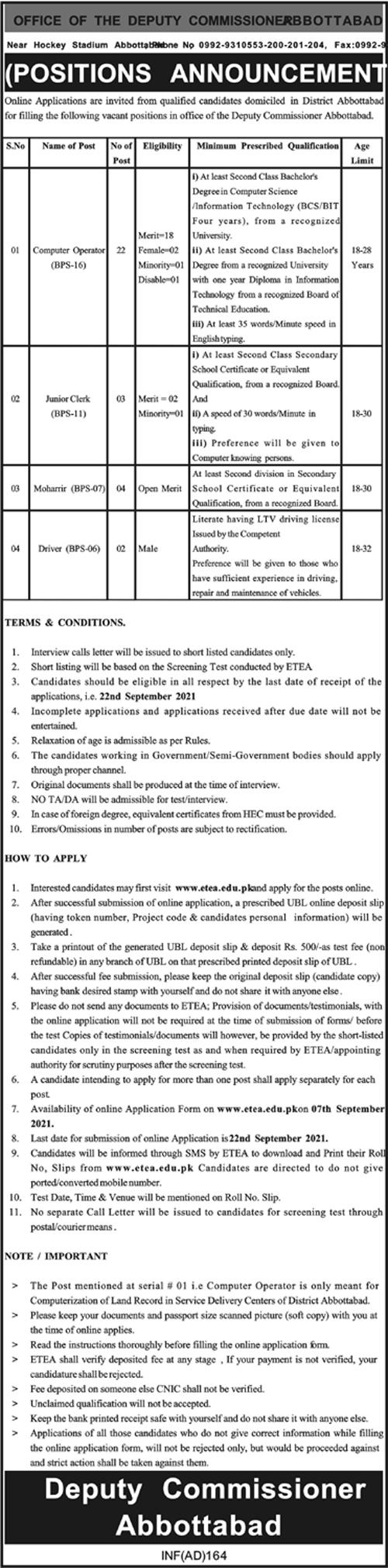 www.etea.edu.pk Jobs 2021 - Deputy Commissioner Office Abbottabad Jobs 2021 in Pakistan