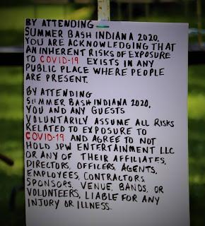 COVID Warning Sign at SummerBash Indiana 2021