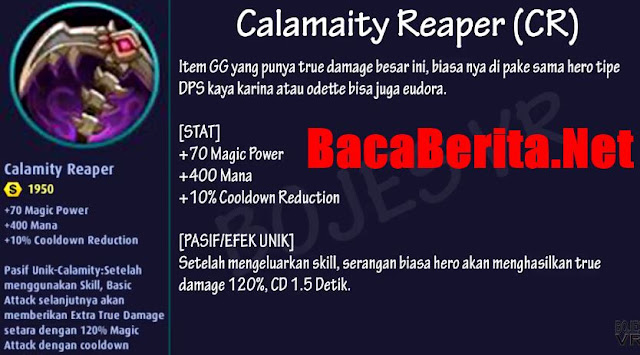 Fungsi item mage Calamity Reaper mobile legend