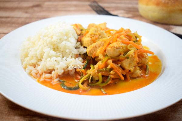 Pollo con Curry Rojo. Vídeo Receta